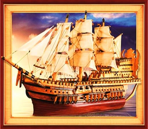 Алмазная мозаика 3D 40x50 Бриг в море