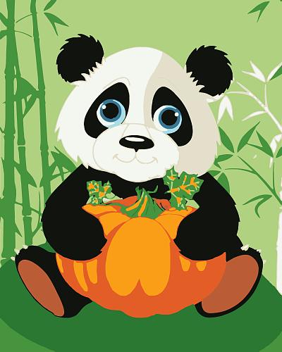 Картина по номерам 40x50 Маленький панда с большой тыквой